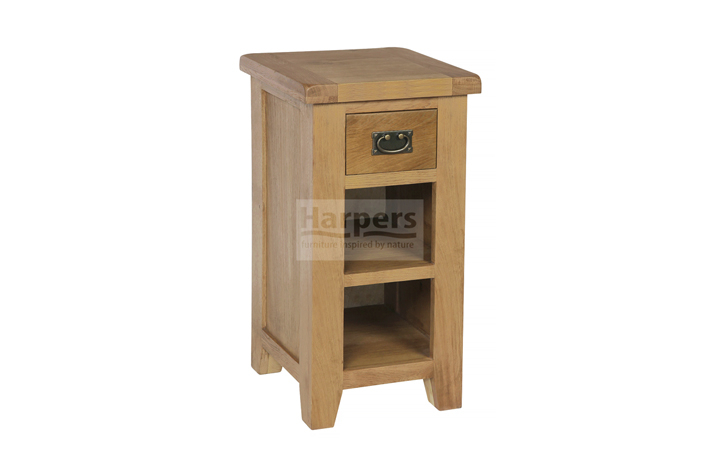 Essex Rustic Oak Furniture Range - Essex Rustic Oak Telephone Table 1 Drawer 1 Shelf