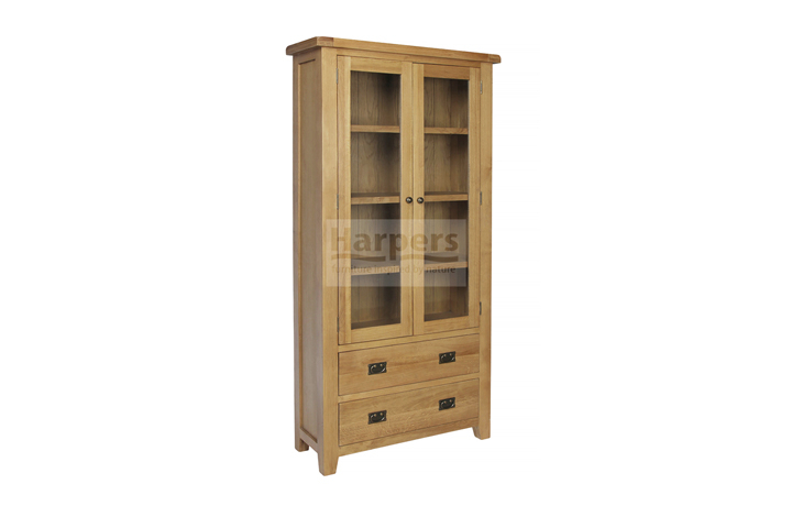 bookcases - Essex Oak - Living - Glazed Display Cabinet with 2 Drawers