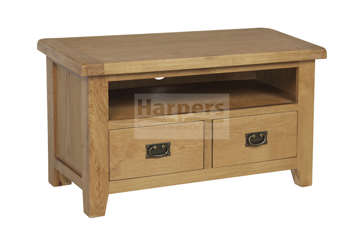 Essex Rustic Oak Furniture Range - Essex Rustic Oak Standard TV Unit with 2 Drawers