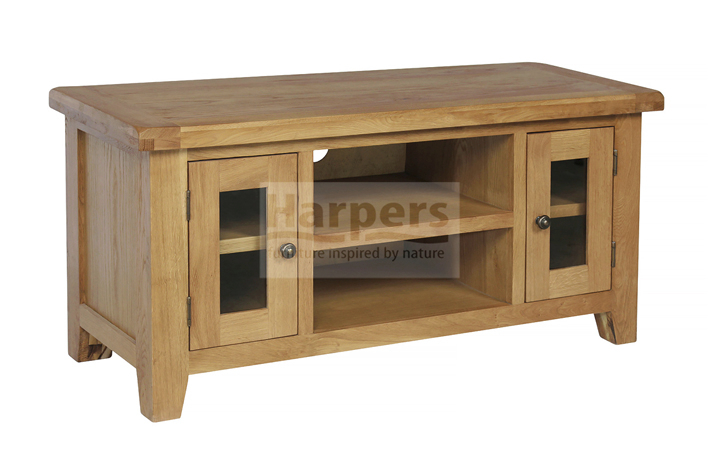 Essex Rustic Oak Furniture Range - Essex Rustic Oak Large TV Unit with 2 Glass Doors