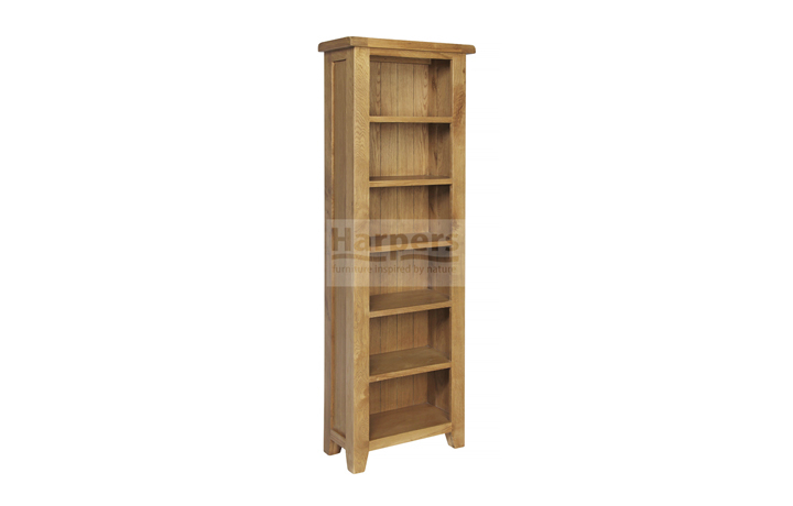 Essex Rustic Oak Furniture Range - Essex Rustic Oak Tall Slim Bookcase