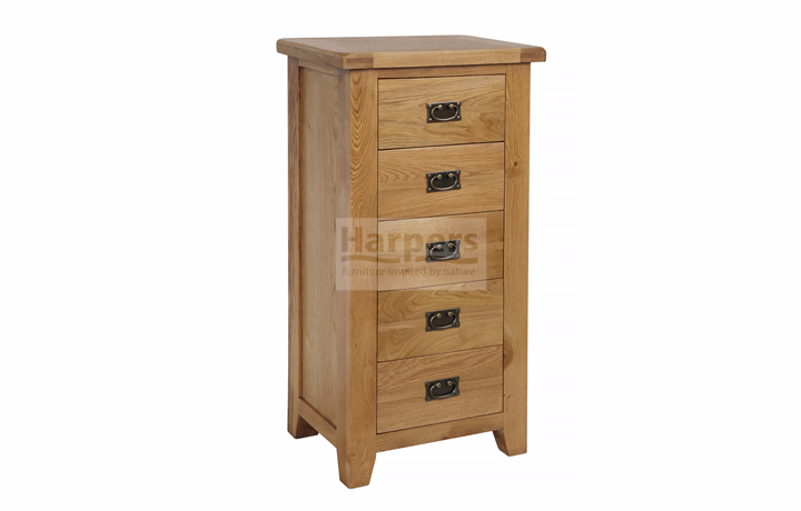 Essex Rustic Oak Furniture Range - Essex Rustic Oak 5 Drawer Wellington