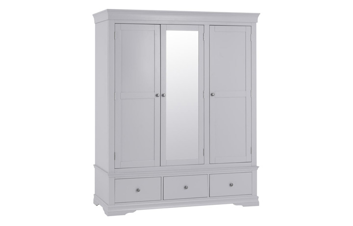 Salthouse Grey Painted Bedroom Collection - Salthouse Grey Painted Triple Wardrobe With Drawers