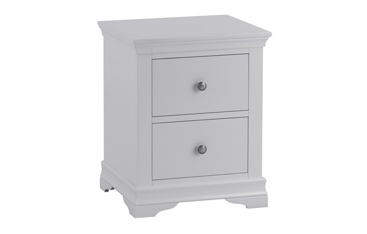 Bedsides - Salthouse Grey Painted Large 2 Drawer Bedside