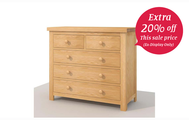 chest-of-drawers - York Solid Oak 2 over 2 Chest of Drawers