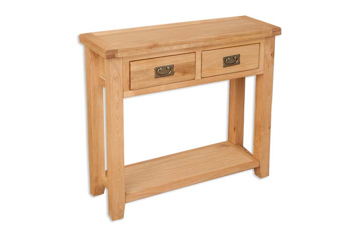 Consoles - Windsor Natural Oak 2 Drawer Console Table