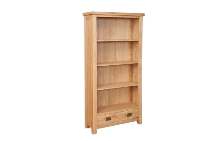 Bookcases - Windsor Natural Oak Large Bookcase With Drawer