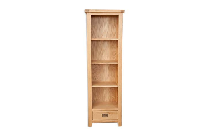 Bookcases - Windsor Natural Oak Slim Bookcase With Drawer