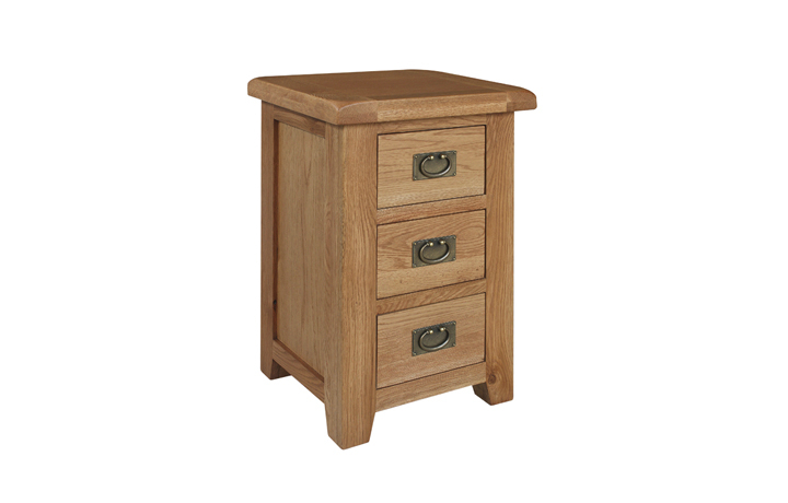 chest-of-drawers - Sussex Rustic Oak 3 Drawer Bedside