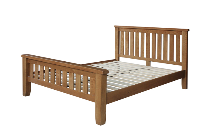 Bed Frames - 4ft6in Sussex Rustic Oak Double Slatted Bedstead