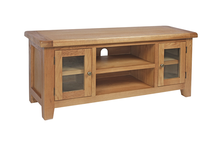 TV Cabinets - Foxbury Rustic Oak Standard 2 Door TV Cabinet