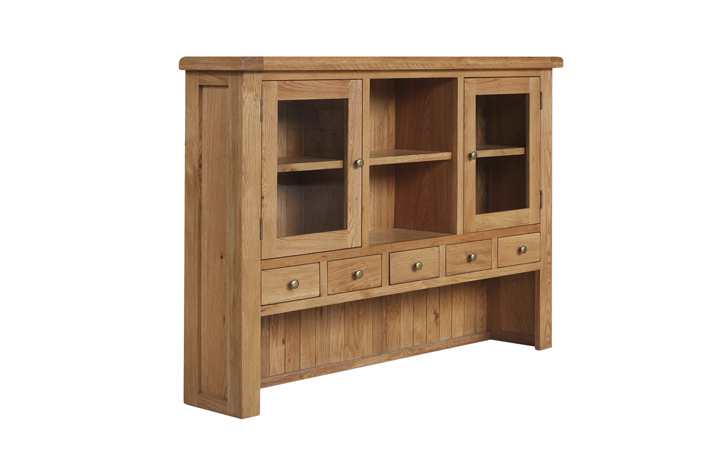 Dresser Tops & Larder Units - Foxbury Rustic Oak 3 Door Glazed Dresser Top