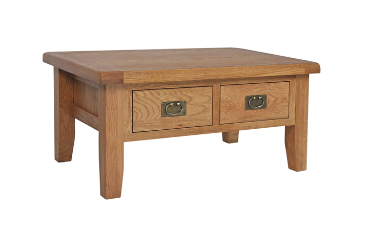 Coffee Tables - Sussex Rustic Oak Coffee Table with Drawers