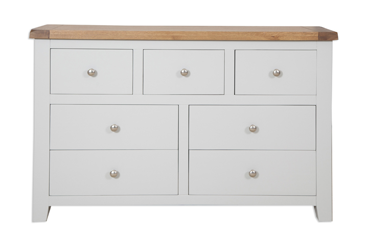 Chest Of Drawers - Henley Grey Painted 7 Drawer Wide Chest