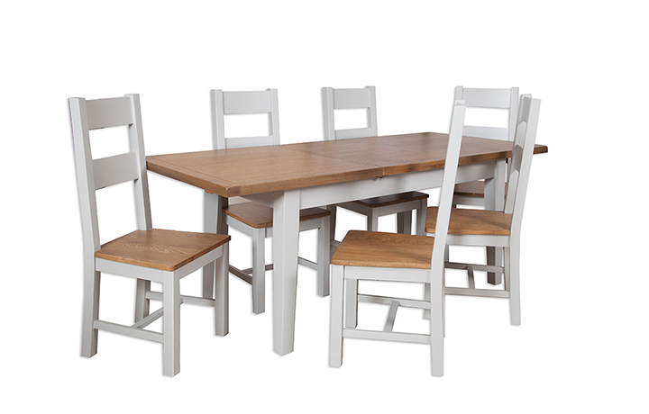 dining-tables - Henley Grey Painted 160cm Extending Dining Table