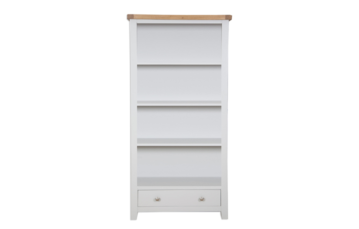 Bookcases - Henley Grey Painted Large Bookcase With Drawer