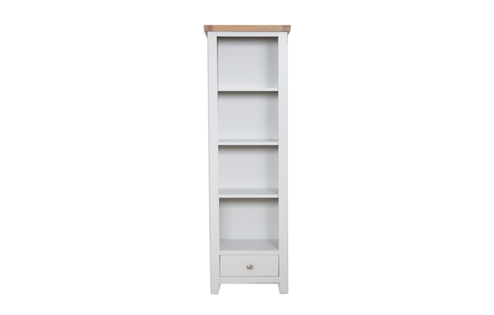 Bookcases - Henley Grey Painted Slim Bookcase With Drawer