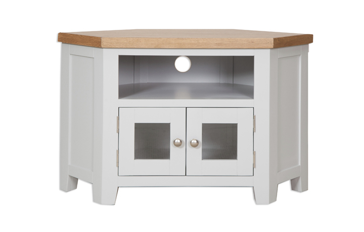 Henley Grey Painted Collection - Henley Grey  Painted Glazed Corner TV Cabinet
