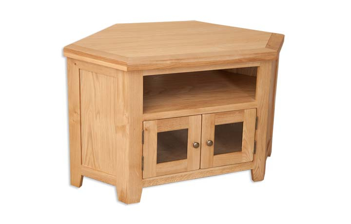 TV Cabinets - Windsor Natural Oak Corner Glazed TV Cabinet