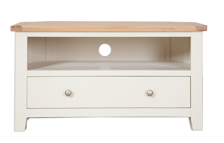 Chelsworth Ivory Painted Collection - Chelsworth Ivory Painted Corner TV Cabinet With Drawer