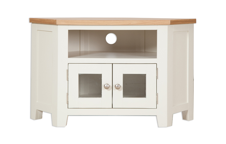 Chelsworth Ivory Painted Collection - Chelsworth  Ivory Painted Corner Glazed TV Cabinet
