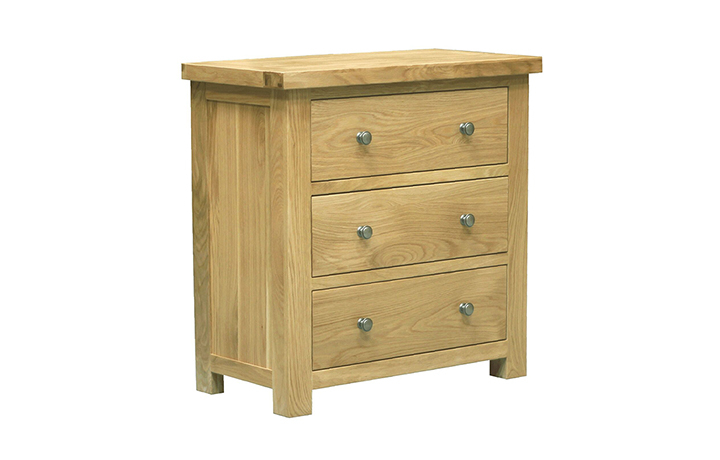 Chest Of Drawers - Suffolk Solid Oak 3 Drawers Wide Wellington