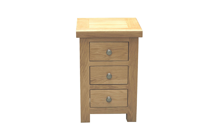 Suffolk Solid Oak Furniture Range - Suffolk Solid Oak 3 Drawer Mini Bedside