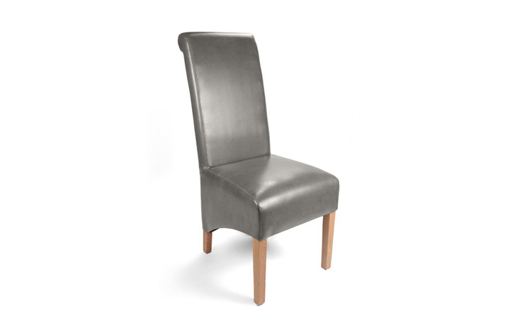 Chairs & Bar Stools - Classic Grey Rollback Leather Dining Chair