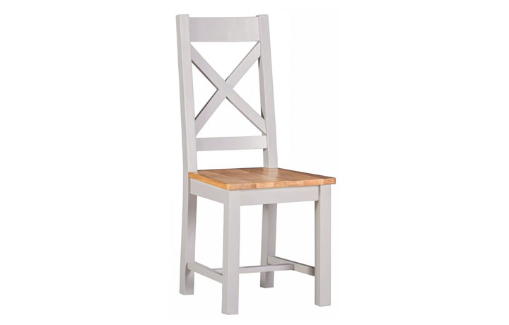 Wexford Grey Painted Collection - Wexford Grey Painted Cross Back Dining Chair With Pad