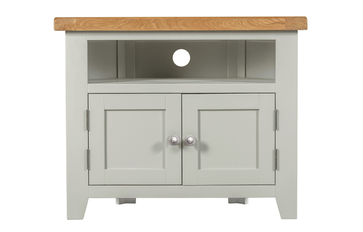 TV Cabinets - Eden Grey Painted Corner TV Unit With Solid Doors