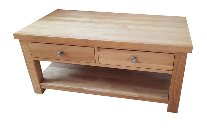 York Oak Range - York Solid Oak Coffee Table With 2 Drawers