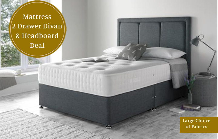 4ft6 Double Mattress & Divan Special Offers - 4ft6 Double Bronze 1500 Mattress With 2 Drawer Divan & Headboard