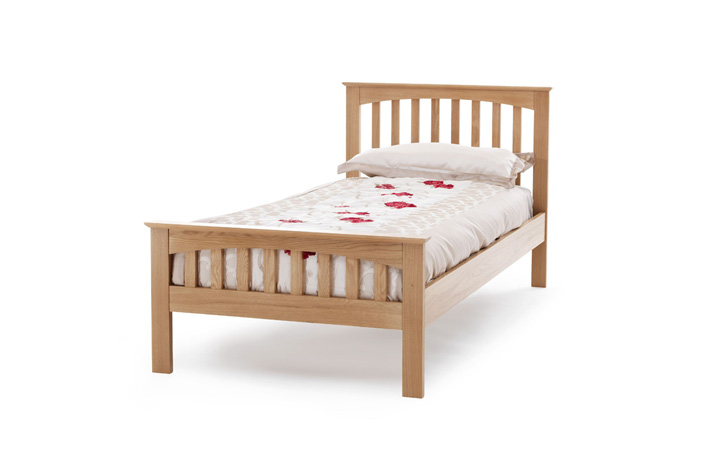 beds - 3ft Single Oak Slated Bed Frame With Curved Top Low End
