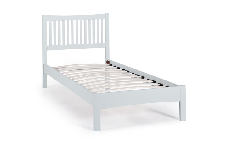 Beds & Bed Frames - 3ft Mya Single Slated Grey Painted Bed Frame With Low End
