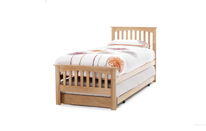 beds - 3ft Single Painted Slated Bed Frame With Curved Top Low End