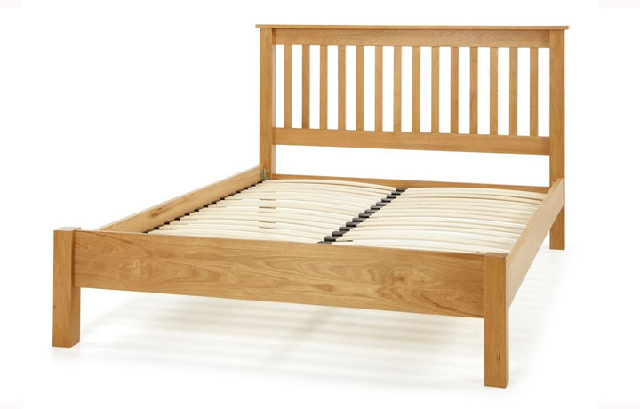 beds - 4'6ft Solid Oak Slatted Bed Frame With Low End
