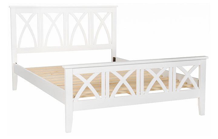 bed-frames - 4ft6in Double Cross Back Painted Bed Frame With High End
