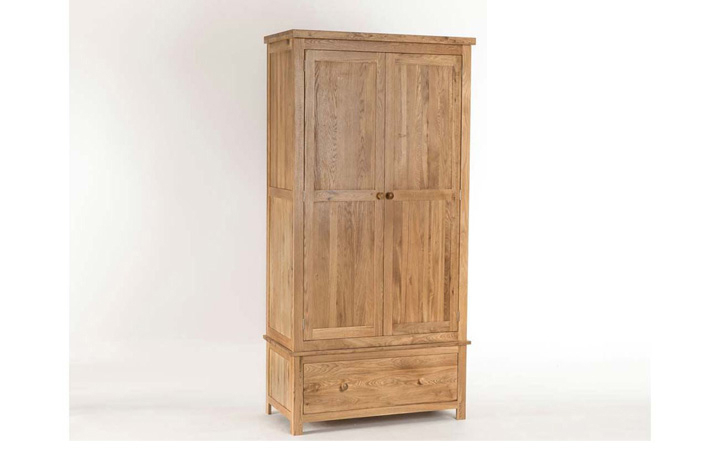 Wardrobes - York Solid Oak Small Gents Double Wardrobe with Drawer
