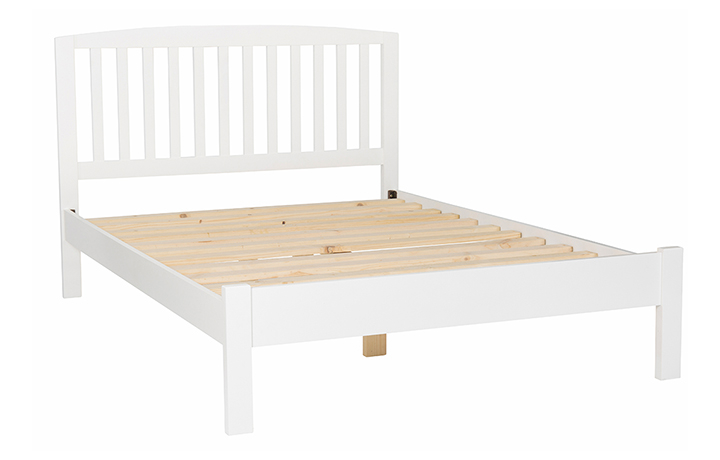 beds - 4'6 Double Slatted Painted Bed Frame With Curved Top & Low End