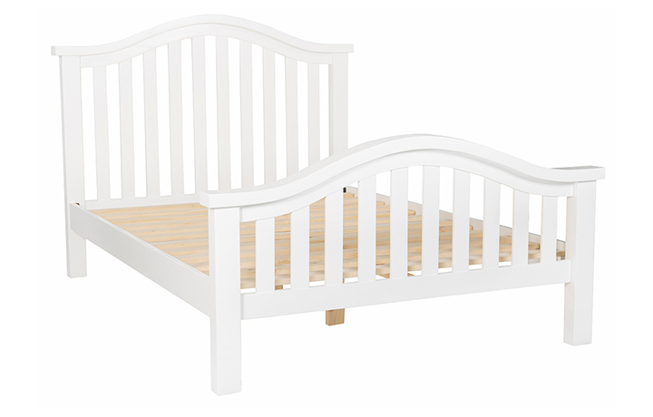 Bed Frames - 4ft6in Double Painted Slatted Bed Frame With Curved Top & Curved High End