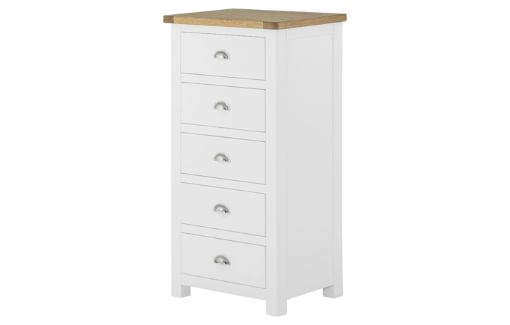Chest Of Drawers - Pembroke White Painted 5 Drawer Wellington Chest