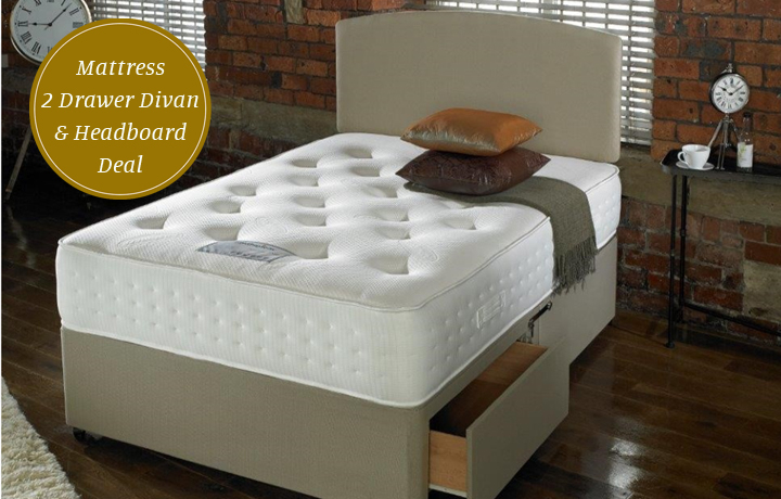 4ft6 Double Mattress & Divan Special Offers - 4ft6in Double Wordsworth 2200 Mattress With 2 Drawer Divan & Headboard Deal