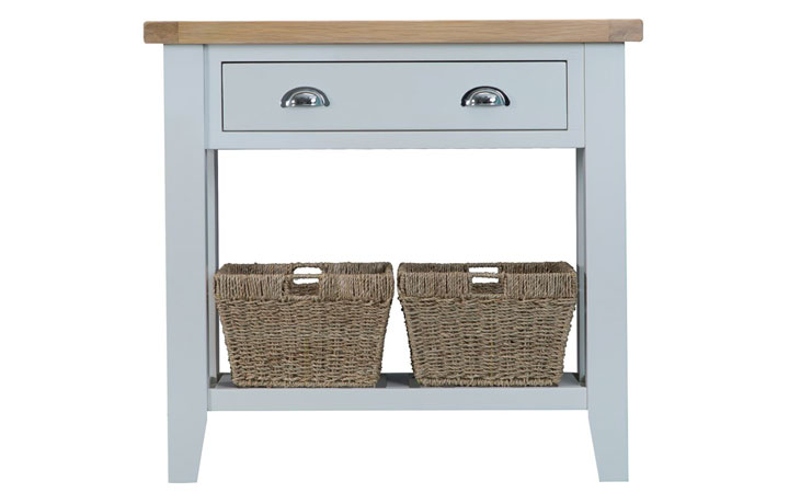 Consoles - Regency Grey Painted Console Table With Baskets