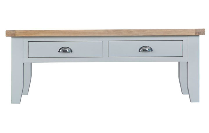 Coffee Tables - Regency Grey Painted Large Coffee Table With 2 Drawers