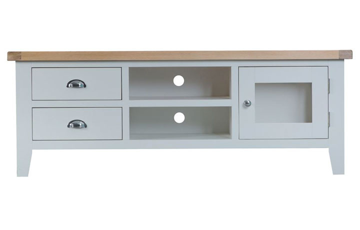 TV Cabinets - Regency Grey Painted Large TV Unit