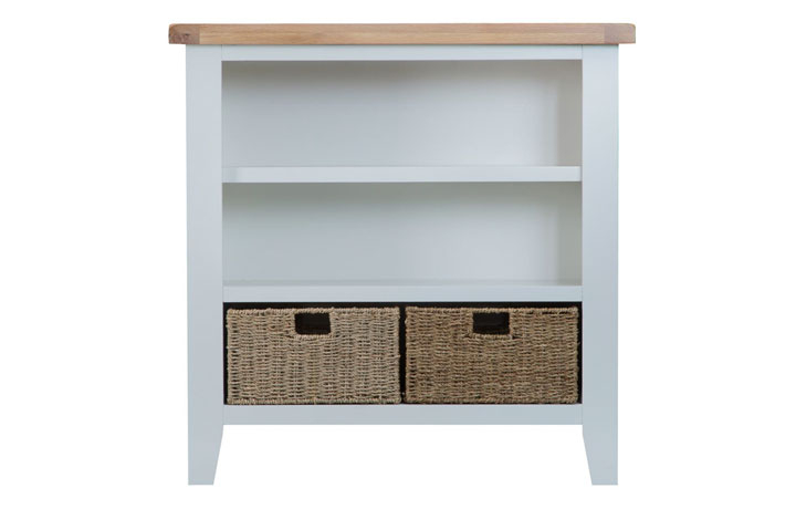 Bookcases - Regency Grey Painted Small Wide Bookcase