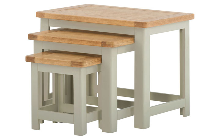 Nested Tables - Pembroke Stone Painted Nest Of 3 Tables