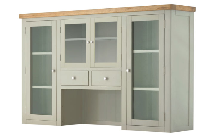 Dresser Tops & Larder Units - Pembroke Stone Painted 4 Door Glazed Dresser Top