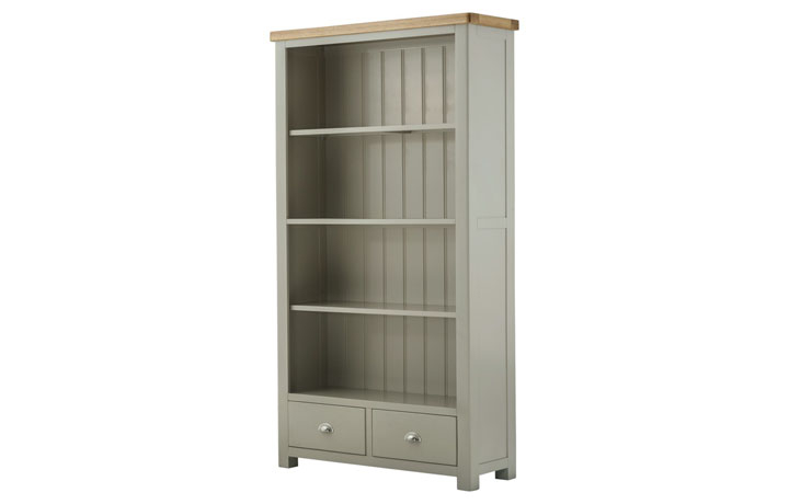 Bookcases - Pembroke Stone Painted Wide Bookcase with Drawers