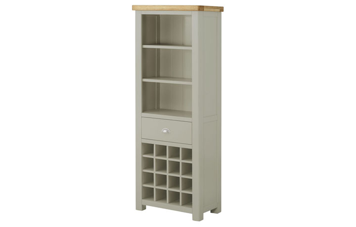 Display Cabinets - Pembroke Stone Painted Grand Bookcase With Wine Holders